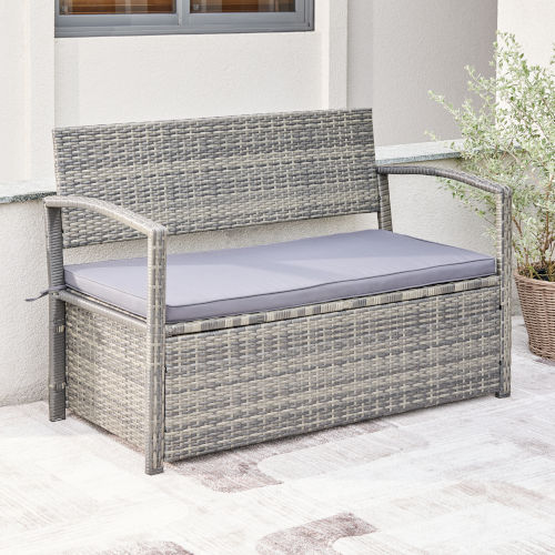 Gabrielle Light Gray Resin Wicker Lounge Patio Sofa with Storage Bench and Cushion