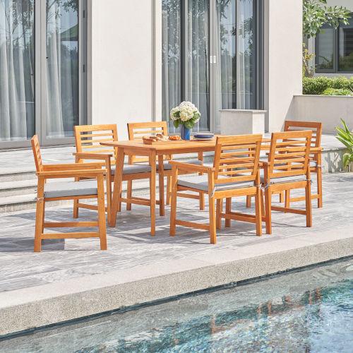 Waimea Oil-Rubbed Honey Teak Seven-Piece Slatted Eucalyptus Wood Patio Dining Set with Cushion