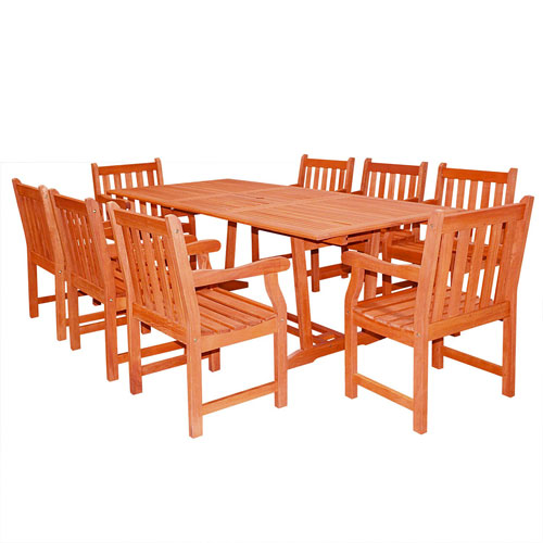 Brilliant Malibu Outdoor 9 Piece Wood Patio Dining Set With Extension Table Cjindustries Chair Design For Home Cjindustriesco