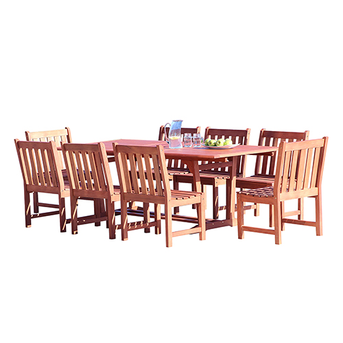 Vifah Manufacturing Company Malibu Outdoor 9 Piece Wood