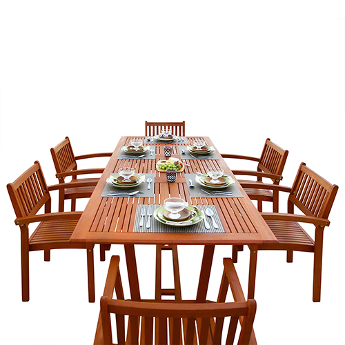 Malibu Outdoor 7-piece Wood Patio Dining Set with Extension Table and Stacking Chairs