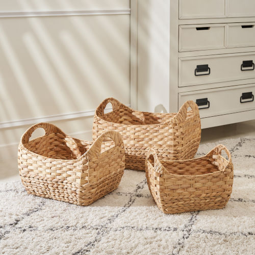Amelia Sandy Three-Piece Water Hyacinth Picnic and Grocery Basket Set with Handles