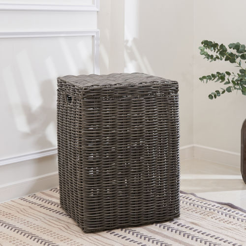 Valeria Gray 19-Inch Laundry Hamper with Attached Lid