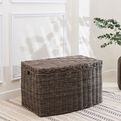 Valeria Gray Brown 27-Inch Storage Bin with Attached Lid and Handles