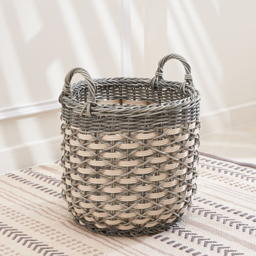 Valeria Gray White 14-Inch Plant Pot and Laundry Basket with Handles
