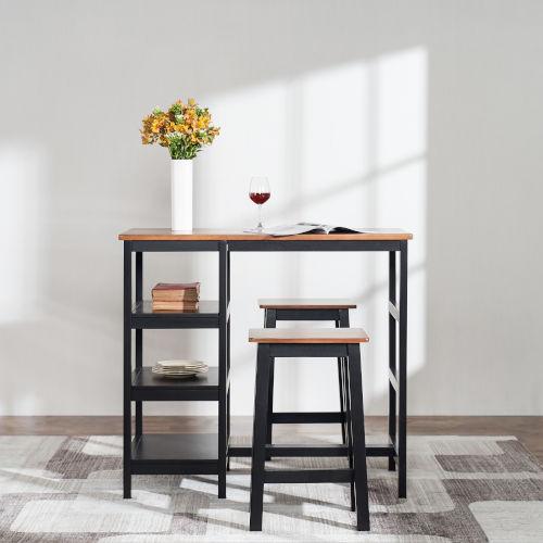 Brighton Mocha Three-Shelf Counter Height Three-Piece Dining Set