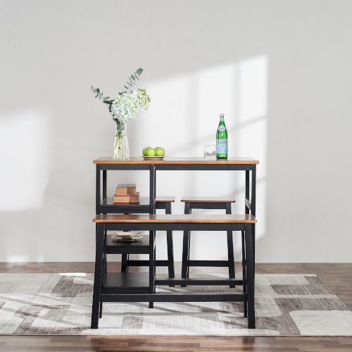Brighton Mocha Three-Shelf Counter Height Four-Piece Dining Set
