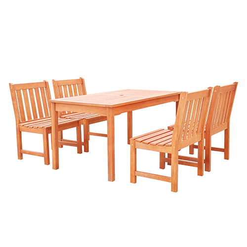 Malibu Outdoor 5-piece Wood Patio Dining Set with Armless Chairs