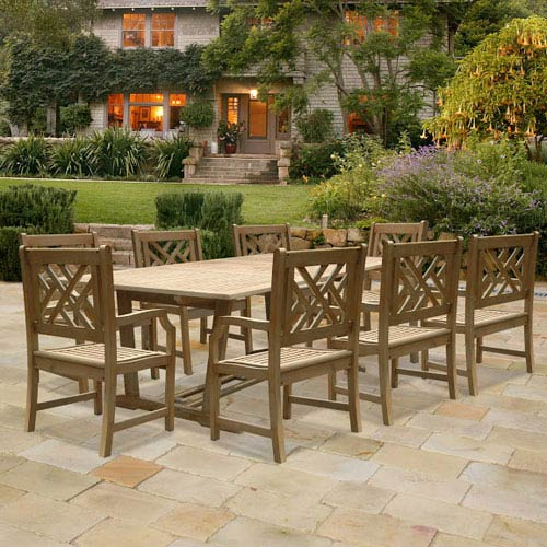 VIFAH Manufacturing Company Renaissance Rectangular Extension Table and Armchair Outdoor Hand-scraped Hardwood Dining Set w/