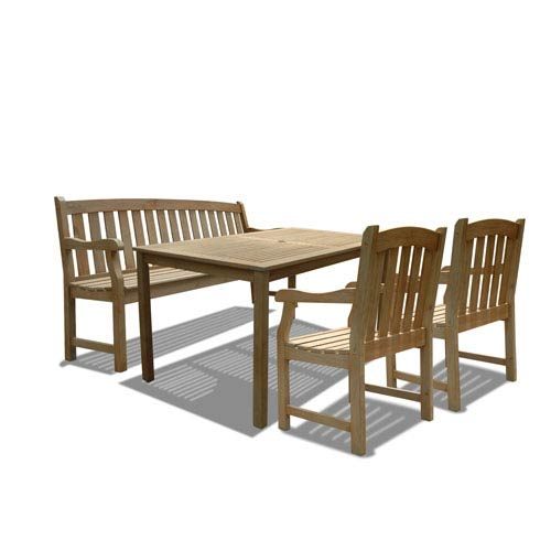 VIFAH Manufacturing Company Renaissance Outdoor 4-piece Hand-scraped Wood Patio Dining Set with 5-foot Bench
