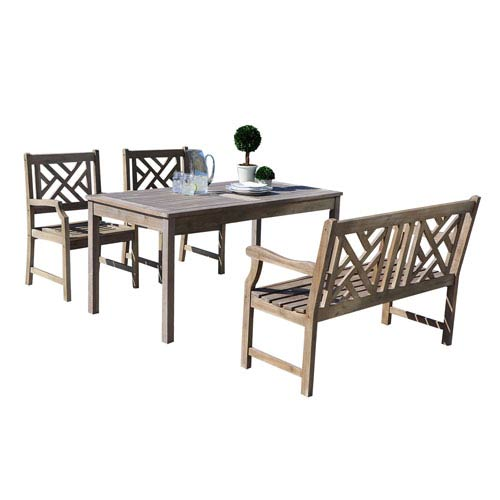 VIFAH Manufacturing Company Renaissance Outdoor 4-piece Hand-scraped Wood Patio Dining Set with 4-foot Bench