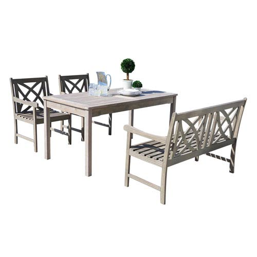 Renaissance Outdoor 4-piece Hand-scraped Wood Patio Dining Set with 4-foot Bench