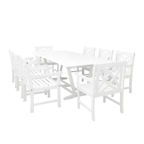 VIFAH Manufacturing Company Bradley Outdoor 9-piece Wood Patio Dining Set with Extension Table in White