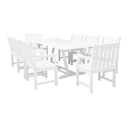 Bradley Outdoor 9-piece Wood Patio Dining Set with Extension Table in White