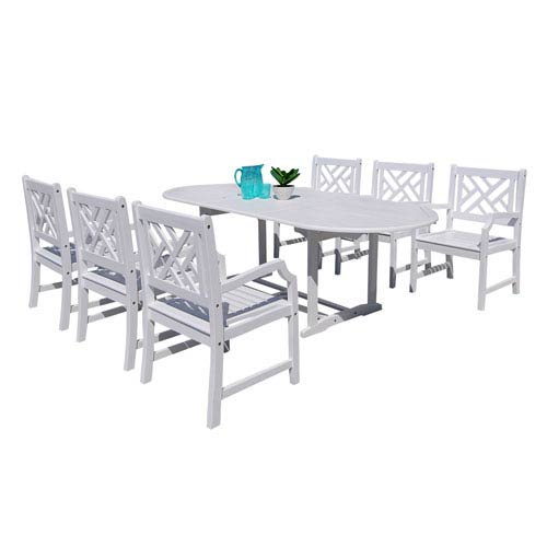 VIFAH Manufacturing Company Bradley Outdoor 7-piece Wood Patio Dining Set with Extension Table in White