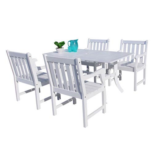 VIFAH Manufacturing Company Bradley Outdoor 5-piece Wood Patio Dining Set in White
