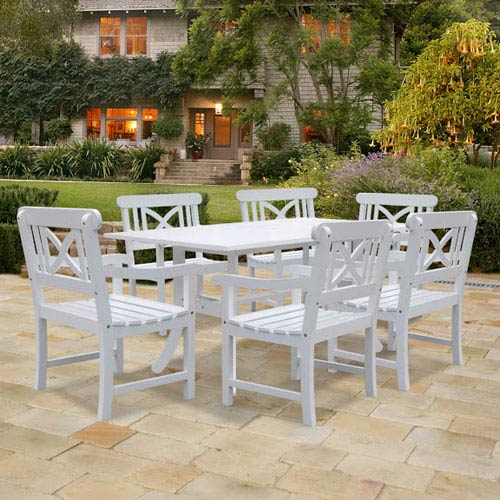 VIFAH Manufacturing Company Bradley Outdoor 7-piece Wood Patio Dining Set in White