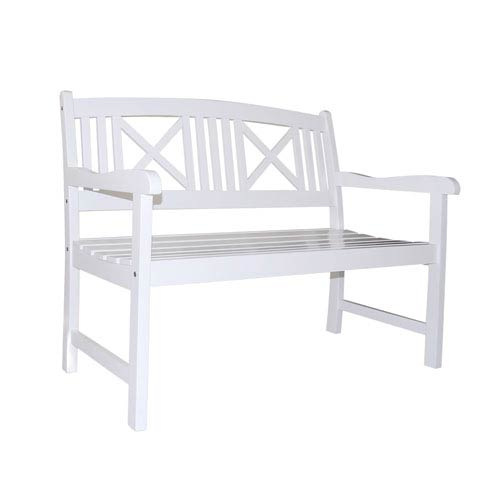 VIFAH Manufacturing Company Bradley Outdoor Wood White Bench