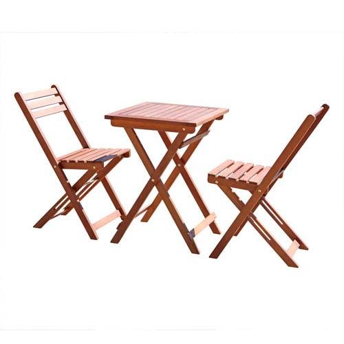 VIFAH Manufacturing Company 3 Piece Premium Eucalyptus Wood Bistro Set (1  Table And 2