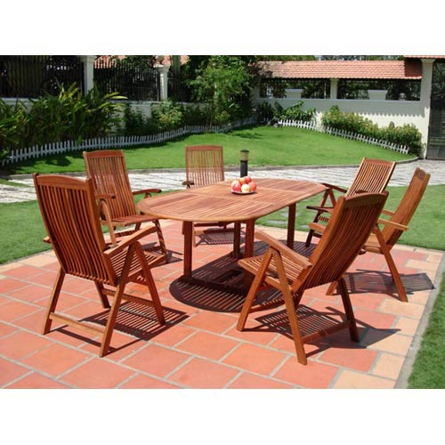 Malibu Outdoor 7-piece Wood Patio Dining Set with Extension Table and Reclining Folding Chairs