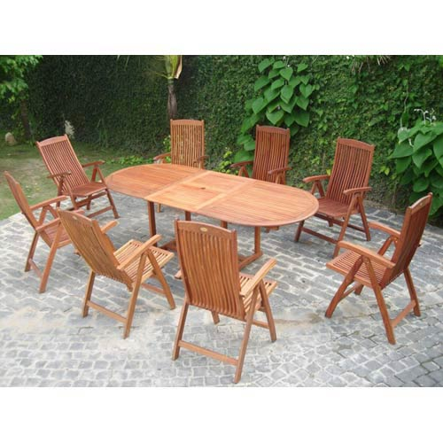 VIFAH Manufacturing Company Malibu Outdoor 9-piece Wood Patio Dining Set with Extension Table and Reclining Folding Chairs