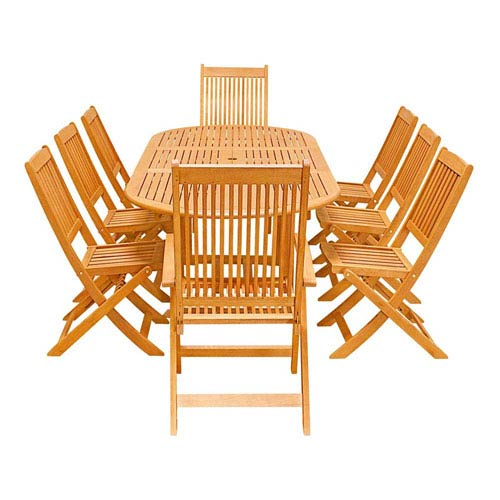 VIFAH Manufacturing Company Malibu Outdoor 9-piece Wood Patio Dining Set with Extension Table and Folding Armchair