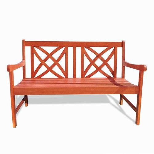 VIFAH Manufacturing Company Malibu Outdoor Patio 4-foot Wood Garden Bench