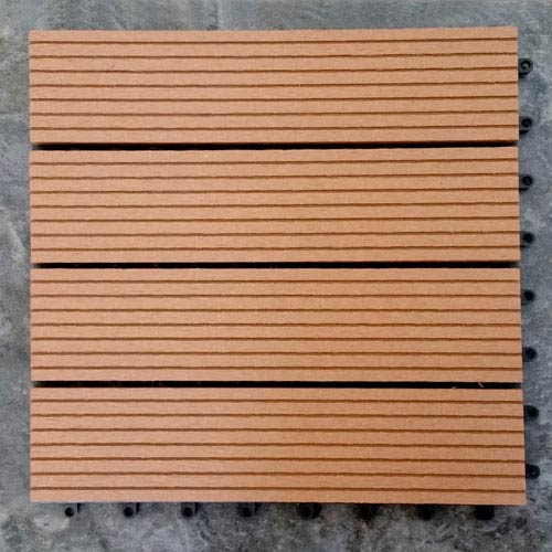 12 x 12 Eco-Friendly Wood-Plastic Composite Interlocking Decking Tile - Light Brown