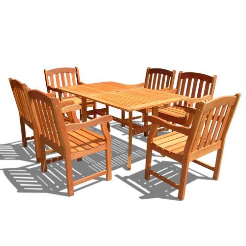 VIFAH Manufacturing Company Malibu Outdoor 7-piece Wood Patio Dining Set