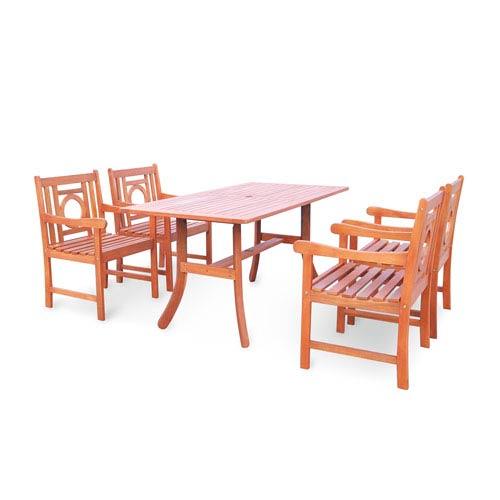 VIFAH Manufacturing Company Malibu Outdoor 5-piece Wood Patio Dining Set with Curvy Leg Table
