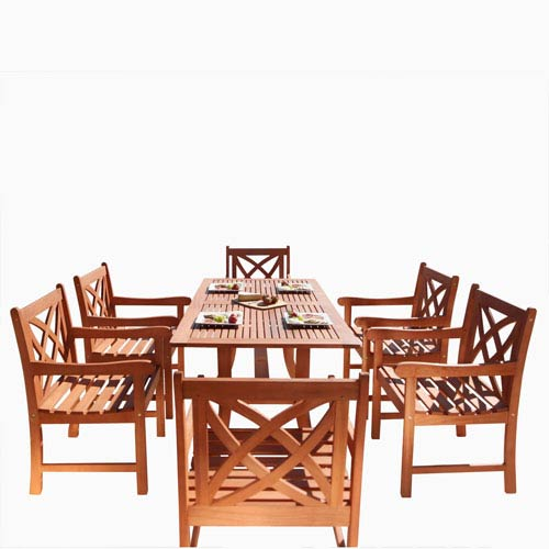 VIFAH Manufacturing Company Malibu Outdoor 7-piece Wood Patio Dining Set with Curvy Leg Table