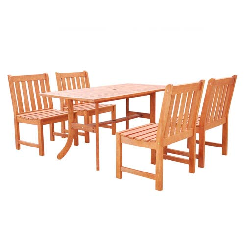 VIFAH Manufacturing Company Malibu Outdoor 5-piece Wood Patio Dining Set with Curvy Leg Table and Armless Chairs