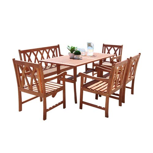 VIFAH Manufacturing Company Malibu Outdoor 6-piece Wood Patio Dining Set with Curvy Leg Table and 4-foot Bench