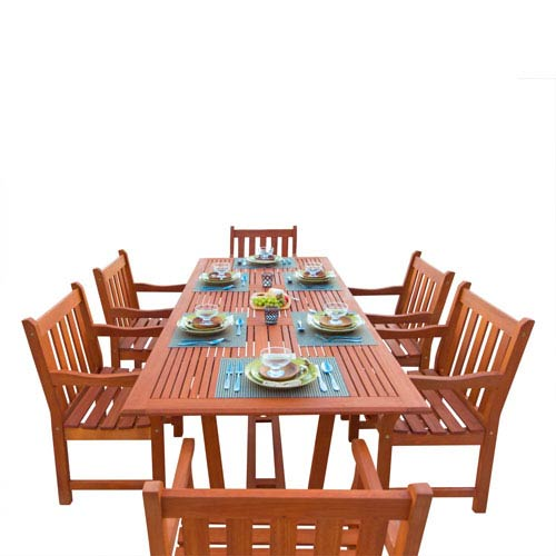 VIFAH Manufacturing Company Malibu Outdoor 7-piece Wood Patio Dining Set with Extension Table