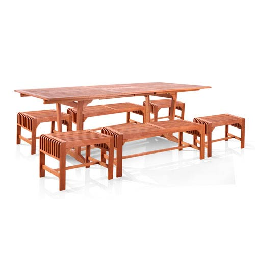 VIFAH Manufacturing Company Malibu Outdoor 7-piece Wood Patio Dining Set with Extension Table, Backless benches and Chairs