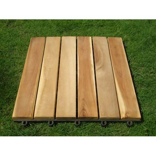 Vifah Manufacturing Company Set Of Ten Straight Six Slat Premium Plantation Teak Deck Tiles