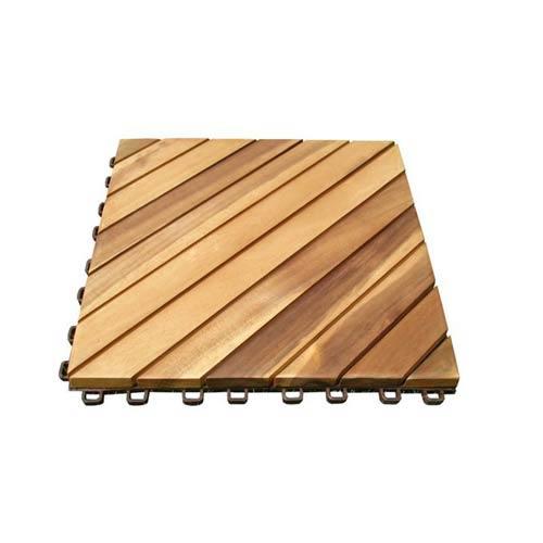 Vifah Manufacturing Company Set Of Ten Diagonal 12 Slat Acacia Deck Tiles