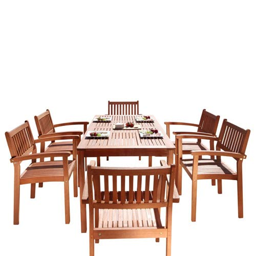 VIFAH Manufacturing Company Malibu Outdoor 7-piece Wood Patio Dining Set with Stacking Chairs