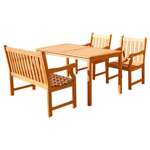 VIFAH Manufacturing Company Malibu Outdoor 4-piece Wood Patio Dining Set with 4-foot Bench and Chairs