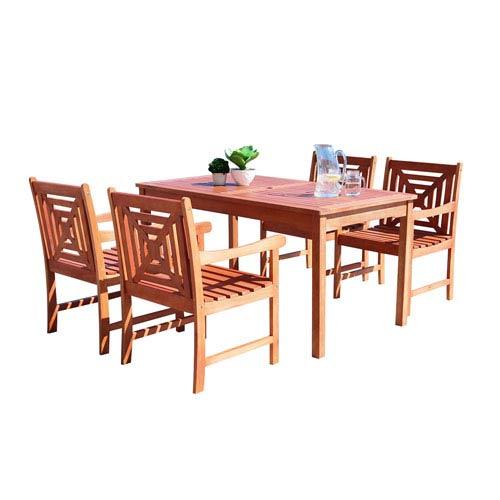 VIFAH Manufacturing Company Malibu Outdoor 5-piece Wood Patio Dining Set
