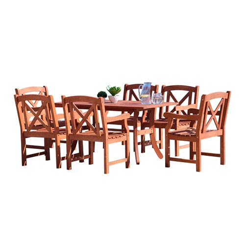 VIFAH Manufacturing Company Malibu Outdoor 7-piece Wood Patio Dining Set