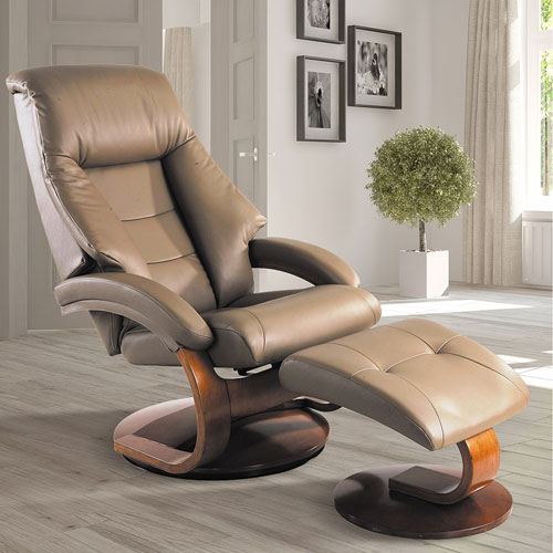 Mac Motion Chairs Sand (Tan) Top Grain Leather Swivel, Recliner with Ottoman