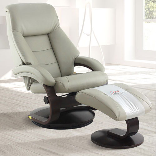 Mac Motion Chairs Putty (Gray) Top Grain Leather Swivel, Recliner With  Ottoman