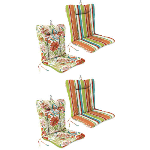 Covert Stripe Breeze and Valeda Breeze 21 x 38 Inches Reversible Outdoor Chair Cushion, Set of Two