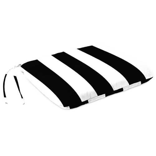Cabana Stripe Black Outdoor Monoblock Seat Cushion
