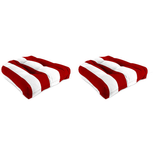 Cabana Stripe Red Outdoor Chair Cushion, Set of Two