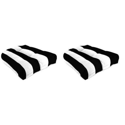 Cabana Stripe Black Outdoor Chair Cushion, Set of Two