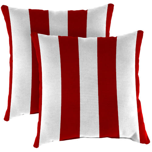 Cabana Stripe Red Outdoor Throw Pillow, Set of Two