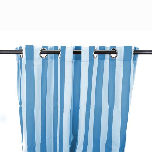 Jordan Manufacturing Company Caribbean Blue Stripe 54-Inch Outdoor Curtain Panel