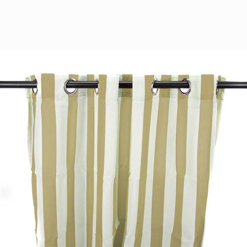 Jordan Manufacturing Company Khaki Stripe 54-Inch Outdoor Curtain Panel